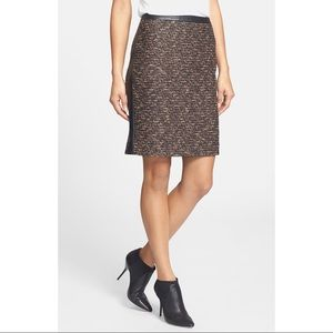 BOSS Hugo Boss Leather Trim Wool Blend Skirt